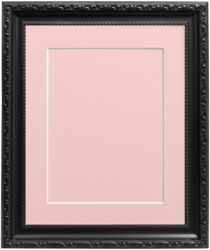 Black Shabby Chic Photo Picture Frames with Mount Backing Board Various Colours