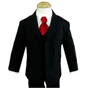 Boy Black Tuxedo Suit W Red Tie Choice Of Many Sizes Ebay