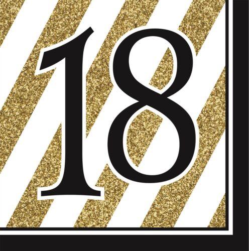 CP 16 Black /& Gold Papier Déjeuner Serviettes Fête D/'Anniversaire Serviettes