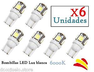x6-Bombillas-LED-T10-W5W-SMD-Luz-Blanca-6000K-6W-Xenon-Coche-Interior-Posicion