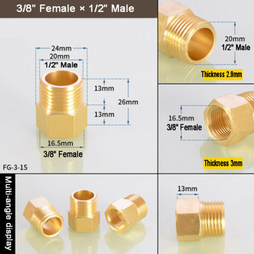 """1//8/"""" 1//4/"""" 3//8/"""" 1//2/"""" 3//4/"""" 1/"""" Female to Male BSP Coupler Brass Connector Fittings"""