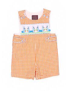 Baby-Boy-Smocked-Gingham-Rabbit-Easter-Shortall-Romper-Jon-John-Size-6-12-Months