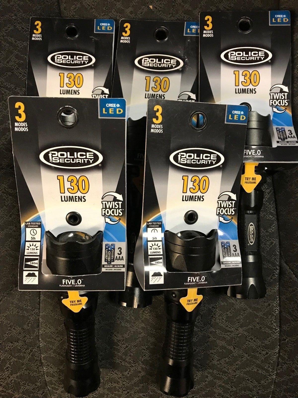 La policía de seguridad de cinco o Linterna Linterna Linterna 3 modos 130 LM 31471 Lote de 5 Luces 8df196