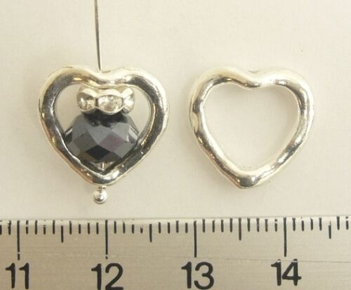 BUY 3 GET 4 40 SILVER PLATED//SP HEART FRAME//CONNECTOR// LEAD NICKEL FREE 14mm
