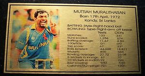 MUTTIAH MURALITHARAN Gold Plaque picture and stats new 150x80mm