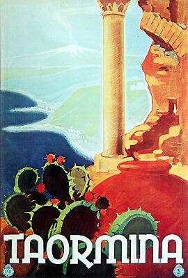3548.Travel Poster.Taormina,Sicily.Home interior design art.Office shop wall