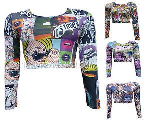Womens-Ladies-Graffiti-Tattoo-Print-Long-Sleeve-Comic-Stretch-Casual-Crop-Top-8