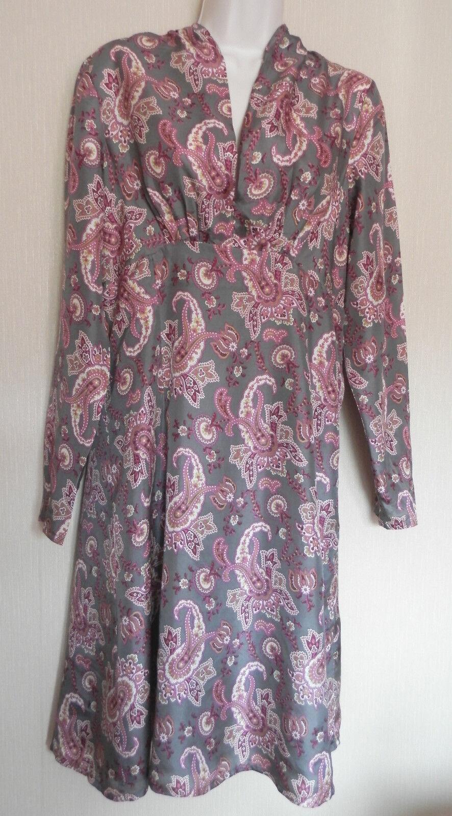 Noa Noa Small UK10 EU38 US6 grau silk paisley print long-sleeved dress - unworn