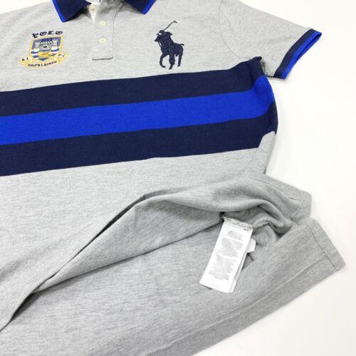 Polo Ralph Lauren Men/'s Big Pony Custom Slim Fit Polo Shirt In Grey//Blue