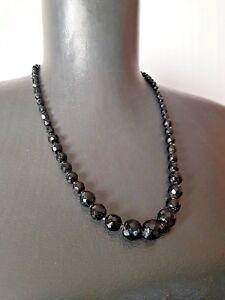 Black-Faceted-Czech-Glass-Bead-Necklace-Graduated-Vintage-Bohemian-Art-Deco