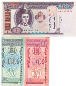 Mongolia-100-Tugrik-10-and-50-monge-UNC-BANKNOTE-uncirculated-set-3-pcs