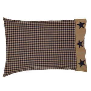 TETON-STAR-NAVY-CHECK-Pillow-Case-Set-Farmhouse-Rustic-Primitive-VHC-Brands