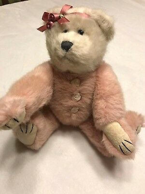 "Boyds Collection 6/"" Bean Stuffed Jointed Plush Animal In Pink Rose Jumper"