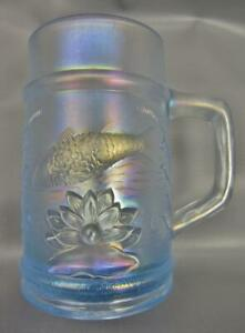 Modern-Fenton-FISHERMAN-MUG-Ice-Blue-PNW-Carnival-Glass-Club-Souvenir-6648