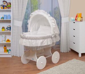 WALDIN Baby Bollerwagen,Stubenwagen,komplett mit Zubehör,XXL Neu Weiß