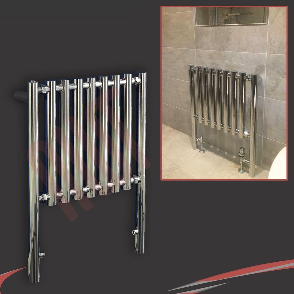 600mm(w) x 800mm(h)  Metis  Chrome Designer Floor Mounted Towel Rail Radiator