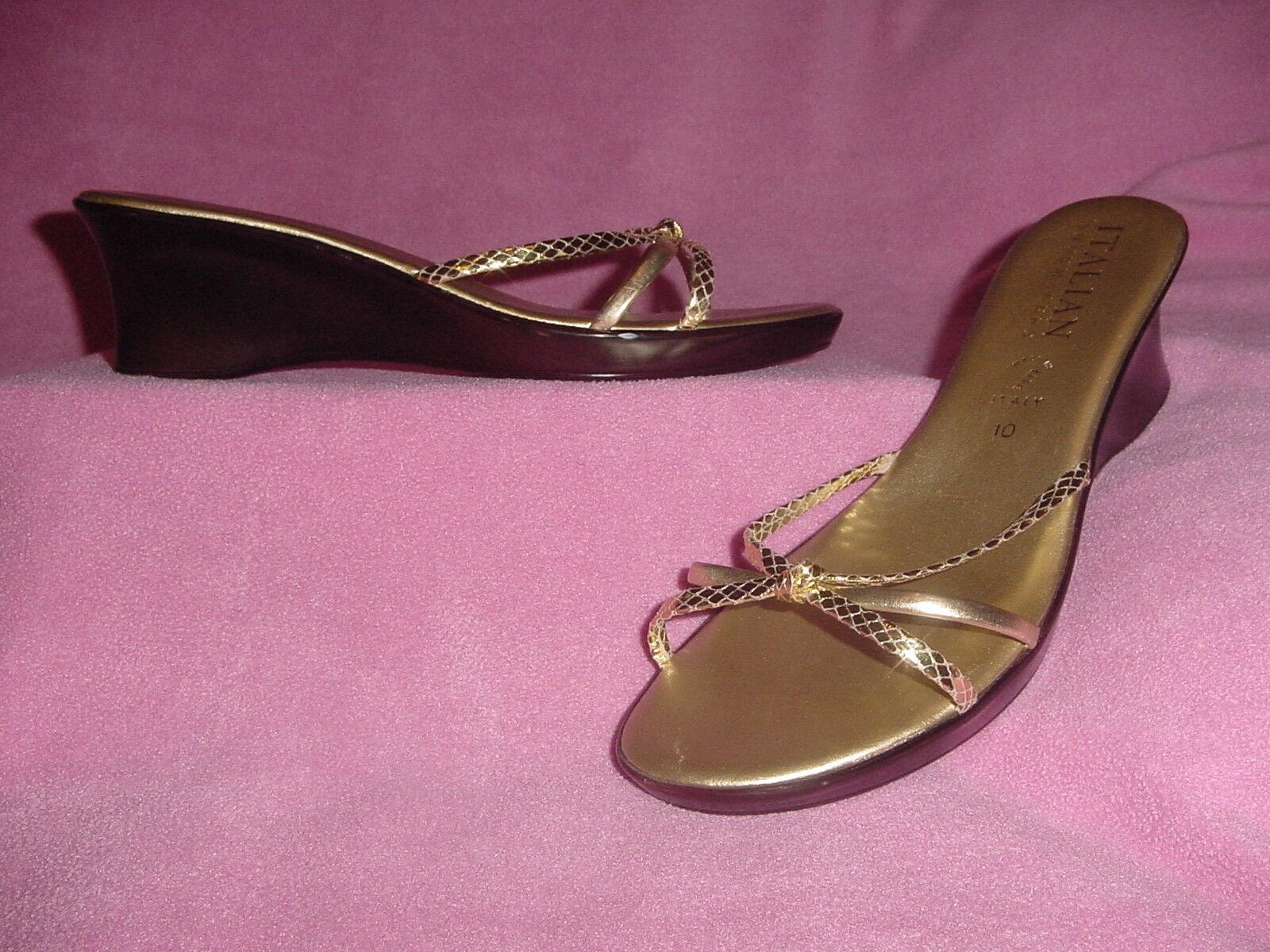 Metallic Gold Slide Sandal Snakeskin ShoeMakers Accent