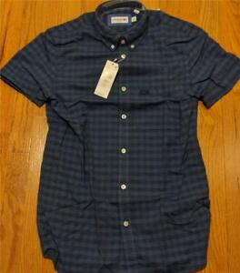 a48f0899f0bf6b Image is loading Authentic-Lacoste-Gingham-Cotton-Linen-SS-Button-Up-