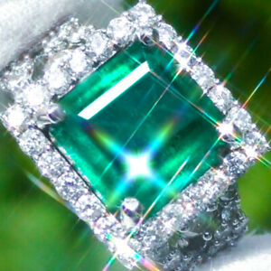 14K-Gold-9-38ct-Natural-ZAMBIAN-EMERALD-Diamond-ESTATE-Classic-Cocktail-Ring