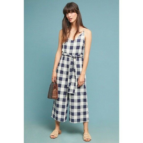 148 Anthropologie  Gingham Tie-Waist Jumpsuit MP new