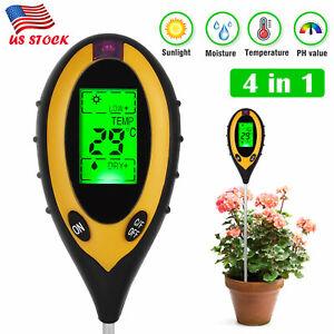 LCD Digital PH Soil Tester Water Moisture Temperature Sunlight Test Meter Plant
