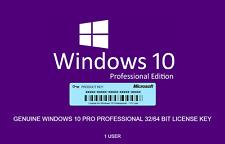 Microsoft Windows 10 Pro Professional 32 64bit Serial Key Code