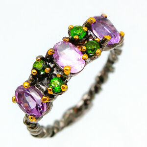 Fashion-women-Natural-Gemstone-Amethyst-925-Sterling-Fine-Silver-Ring-RVS182