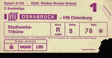 Ticket II. BL Vorrunde 91/92 VfL Osnabrück - VfB Oldenburg