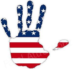 American Flag Handprint Vinyl Sticker Decal Usa United