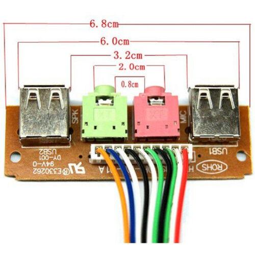 2 USB PC Computer Case 6.8CM Front Panel USB Audio Port Mic Earphone Cable