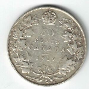 CANADA-1919-50-CENTS-HALF-DOLLAR-KING-GEORGE-V-STERLING-SILVER-CANADIAN-COIN