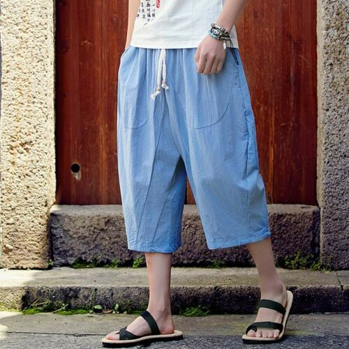 Men/'s Casual Slim Sports Pants Calf-Length Pant Linen Trousers Baggy Harem Pants