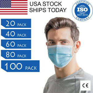 3-Ply Face Mask Earloop Surgical Dental Medical Disposable 20/40/60/80/100 PCS