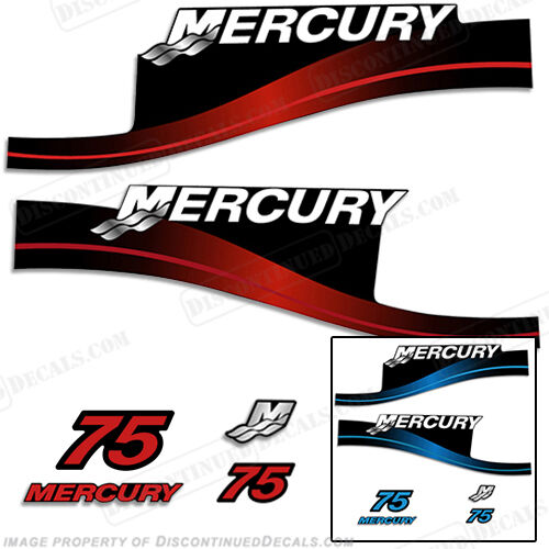 Mercury 75hp Two Stroke Outboard Decal Kit bluee or Red Available 1999-2004