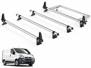 Rhino Delta 4 Bar Roof Bars and Rear Steel Ladder Roller System for Vauxhall Vivaro 2014 on