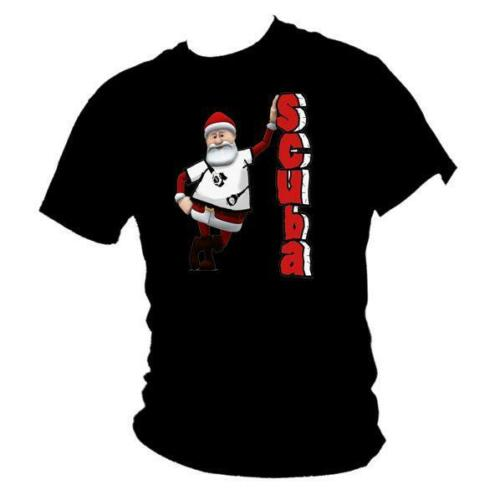 FATHER CHRISTMAS gift ladies T-shirt all size Festive funny Scuba Diving SANTA