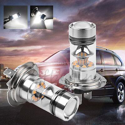 2x White H7 100W CREE LED Fog DRL Driving Running Head Light Lamp Bulbs 6000K AU