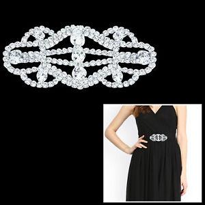 Silver-Diamante-Motif-Rhinestone-Diamond-Sew-on-Wedding-Embellishment-Dress-Belt