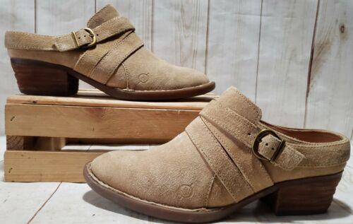 BOC Born Concept Tan Cowboy Boot Strap Mules Clogs