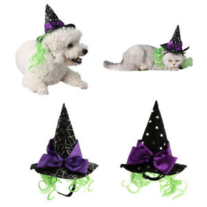 Details about Dog & Cat Witch Costume, Cat Wizard Costume Hat Witch Pet  Halloween Gifts