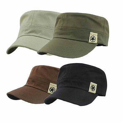 New Flat Roof Military Style Cotton Hat Cadet Patrol Bush Hat Baseball Field Cap