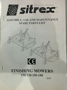 Details about Sitrex SM120, SM150, SM180 Finishing Mower Operation Manual  and Parts List
