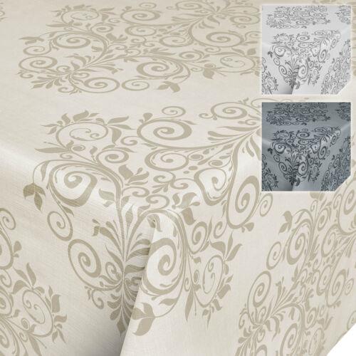 Arabesque Toile Cirée Nappe lianes motif baroque beige crème Lavable