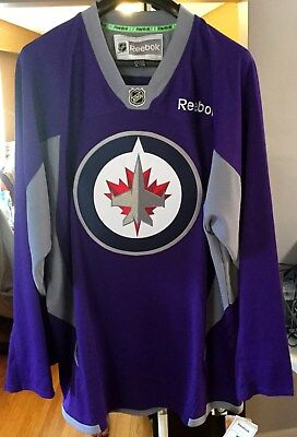 competitive price 2cd4d 91a0c Winnipeg Jets NEW Official Reebok Purple Hockey Fights Cancer practice  jersey | eBay