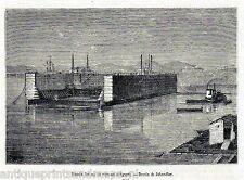 Antique print Egypt Drydock Dry dock 1874 Baudock holzstich / prent droogdok
