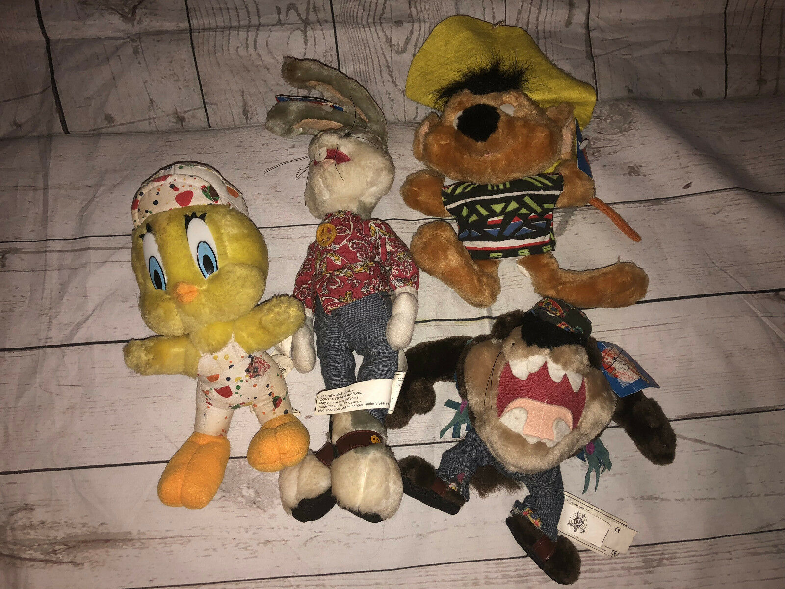 Looney Tunes Speedy Gonzales Hippie Bugs Bunny Taz Tweety Bird Lot Plush Stuffed