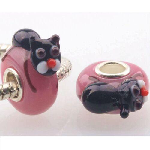 10pcs//Lot Fashion Animal Handwork Lampwork Glass Big hole Silver Core Beads