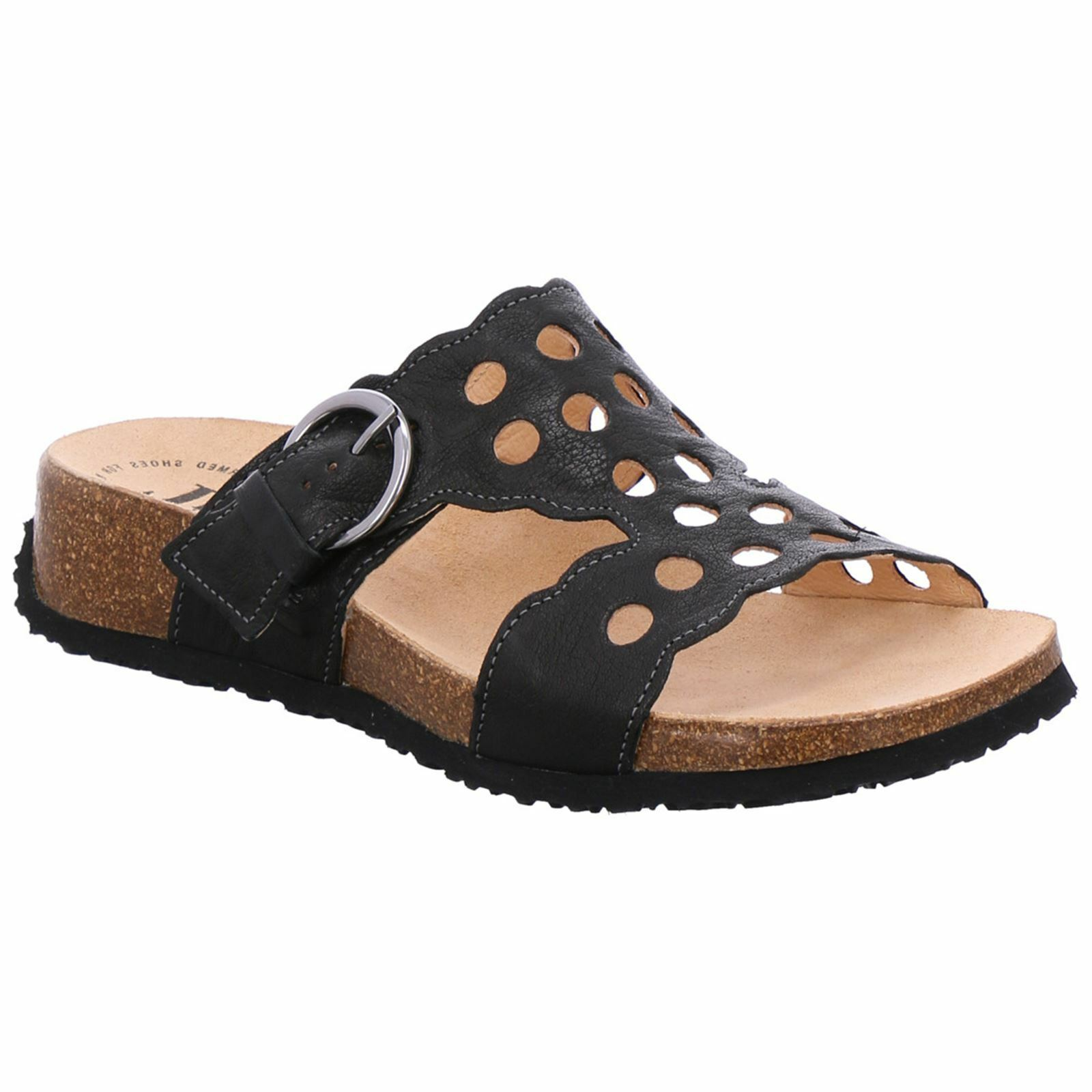 Piense Mizzi 88363 Negro de Cuero para Mujer Espalda Abierta Puntera Abierta Sin Cordones Sandalias de diapositiva
