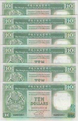 UNC Lot of 6 Hong Kong Banknote P191c 10 Dollars 1992 HSBC
