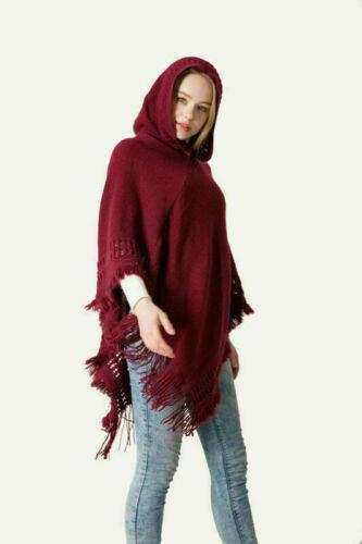 Women Cloak Hood Sweaters Knit Batwing Top Poncho With Cape Coat Tassel Outwear